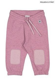 Polarn O. Pyret Purple Gots Organic Bear Appliqué Trousers