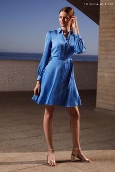 Tommy Hilfiger Blue Satin Shirt Dress