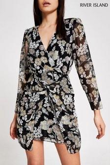 Czarna mini sukienka popołudniowa z węzłem River Island