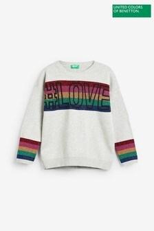 Benetton Grey Rainbow Love Jumper