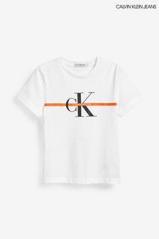 Calvin Klein White Monogram Stripe T-Shirt
