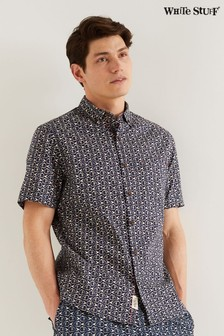 White Stuff Blue Geo Fish Print Shirt
