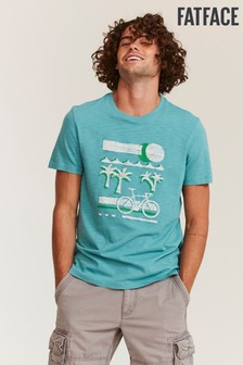FatFace Green Embroidered Palm Graphic T-Shirt