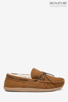 Signature Suede Lace Moccasin Slippers