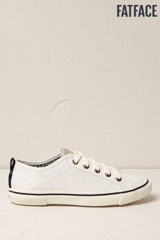 FatFace White Organic Lace-Up Trainers