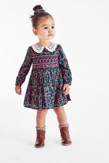 Присборенное платье с кружевным воротником (3 мес.-7 лет)