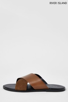 River Island Brown 8805 Cross Strap Leather Sandals