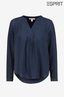 Esprit Blue Crepe Blouse Top With Longer Back