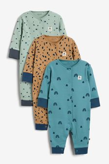 3 Pack Mini Print Sleepsuits (0mths-3yrs)