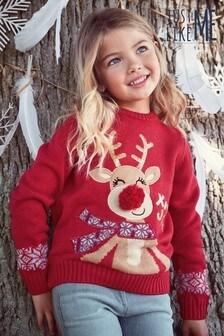 Matching Family Kids Christmas Reindeer Jumper (3-16yrs)
