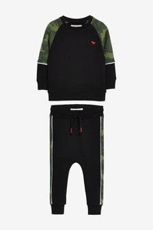 Комплект с камуфляжным принтом в стиле цветных блоков (джемпер и спортивные брюки) (3 мес.-7 лет)