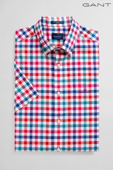 GANT Pink Broadcloth Multi Gingham Regular Short Sleeve Shirt