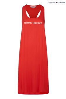 فستان موسوم متين Core أحمر من Tommy Hilfiger