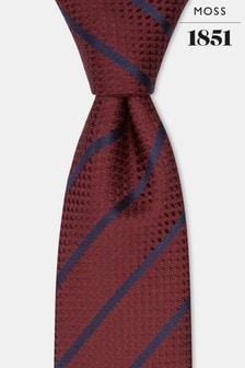 رابطة عنق حريرنبيذي مقلمةأزرقداكنمنMoss 1851