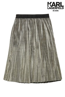Karl Lagerfeld Gold Pleated Midi Skirt
