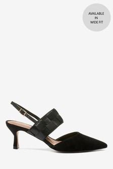 Кожаные плетеные туфли на каблуке-рюмочке с ремешком на пятке