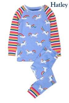 Piżama raglanowa z organicznej bawełny Hatley w tęczowe jednorożce