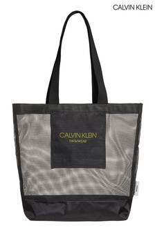 Calvin Klein Black Branded Mesh Beach Tote Bag