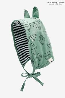 Turtledove London groene muts van biologisch katoen met diamantprint