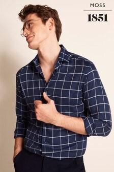 Moss 1851海軍藍單袖口方格圖案訂製剪裁休閒襯衫