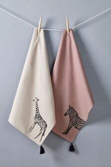Set of 2 Safari Tea Towels