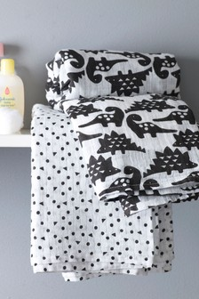 Set of 2 Dinosaur & Geo Swaddle Blankets