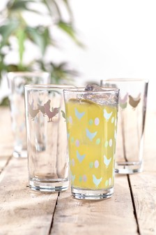 Gläser mit Huhnmotiv, 4er-Set