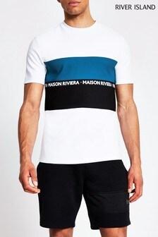 River Island Maison T-Shirt mit Blockfarben und Sportstreifen, Weiß