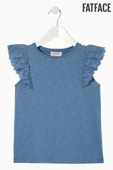FatFace Blue Plain Broderie Sleeve T-Shirt