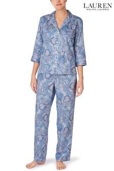 Lauren Ralph Lauren® Blue Classic Woven 3/4 Sleeve Notch Collar Pyjama Set