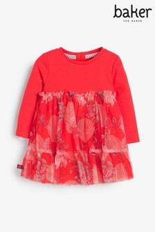 שמלה פרחונית של Baker By Ted Baker, בצבע אדום