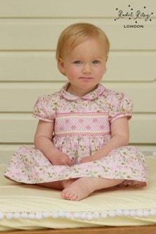 Rachel Riley Daisy Gesmoktes Kleid mit Blümchenmuster, Pink