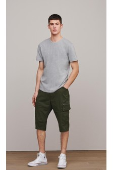Laundered Cotton Long Cargo Shorts With Stretch