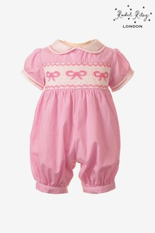 Rachel Riley Pink Bow Smocked Romper