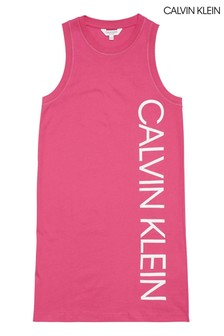 Calvin Klein Pink Branded Tank Dress
