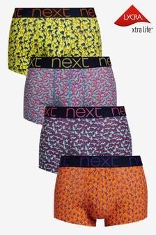 Lot de quatre boxers taille basse à motif
