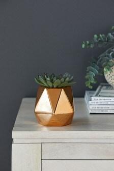 Artificial Succulent in Metallic Pot