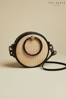 Ted Baker Black Agneti Resin Handle Straw Circle Bag