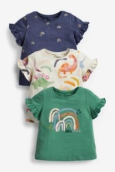 Set van 3 T-shirts met dinosaurusprint (3 mnd-7 jr)