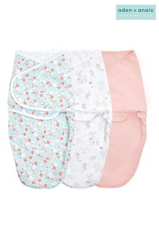 Aden & Anais™ Pink Fairy Tale Flowers Essentials Easy 3 Pack Swaddles