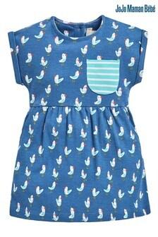 שמלת ג'רזי עם כיסים והדפס של JoJo Maman Bébé דגם Seagull בכחול