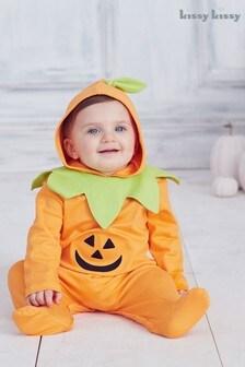 Kissy Kissy Orange Halloween Pumpkin Hooded Babygrow