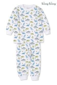 Kissy Kissy White Pima Cotton Dino Dynamos Pyjamas