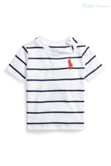 Ralph Lauren White Striped Large Pony T-Shirt