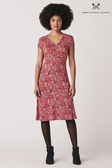 Crew Clothing Company Red Iris Jersey Printed Tea Dress