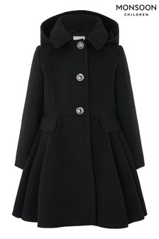 Monsoon Black Skirted Coat With Hood