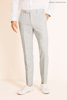 French Connection Slim Fit Light Grey Flannel Trousers