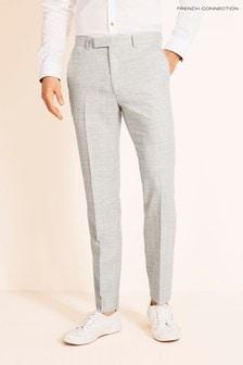 Světle šedé flanelové kalhoty úzkého střihu French Connection