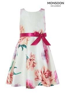 Monsoon Natural Peony Floral Print Dress