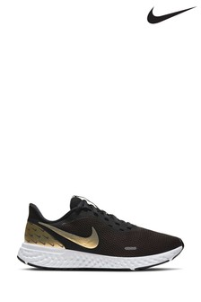 Nike Run Black/Gold Revolution 5 Premium Trainers